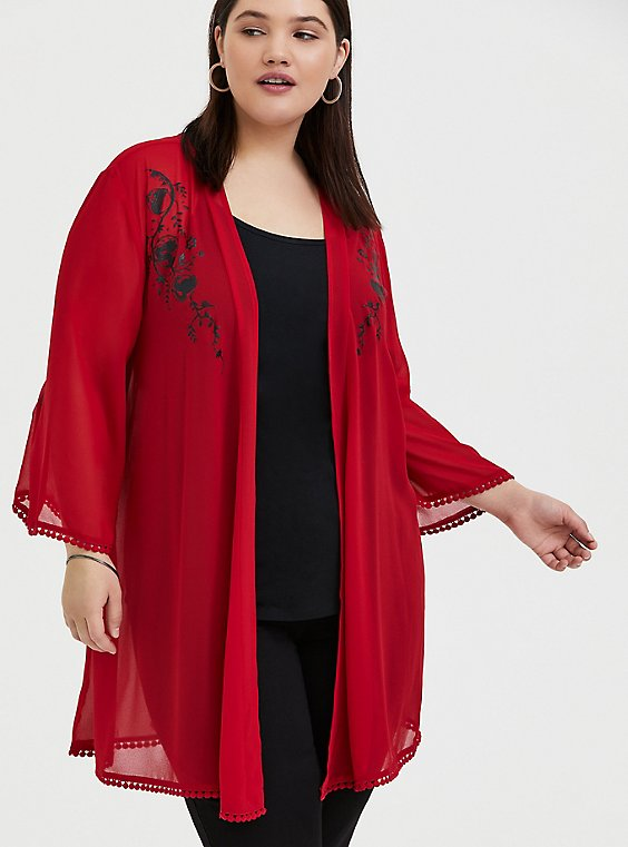 Disney Mulan Red Chiffon Phoenix Kimono, , hi-res