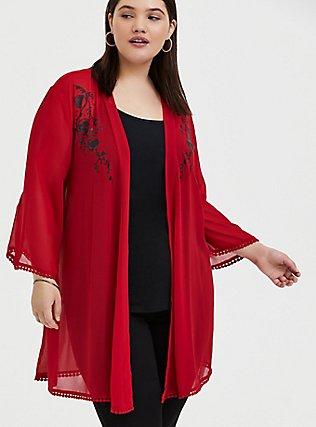 Disney Mulan Red Chiffon Phoenix Kimono, JESTER RED, hi-res