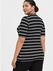 Black & White Stripe Mock Neck Tee, STRIPE-BLACK, alternate