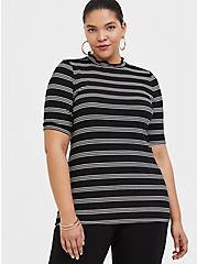 Black & White Stripe Mock Neck Tee, STRIPE-BLACK, hi-res