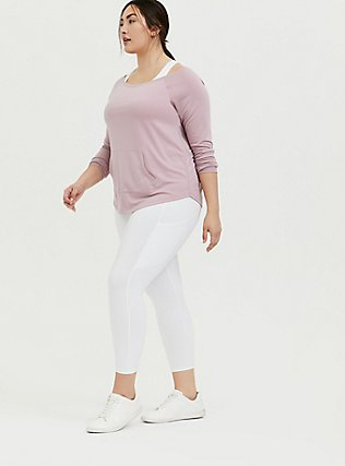 Mauve Pink Terry Off Shoulder Active Sweatshirt, PINK, alternate