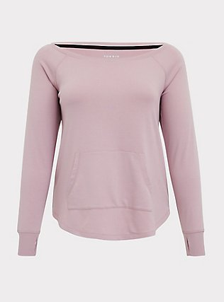 Mauve Pink Terry Off Shoulder Active Sweatshirt, PINK, flat
