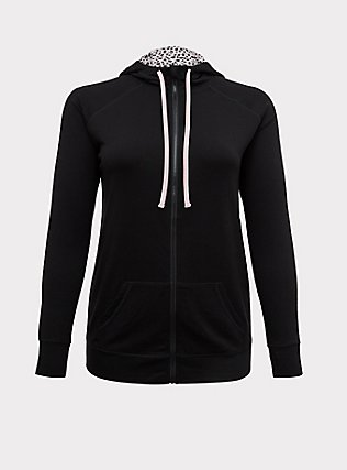 Black & Leopard Lined Relaxed Active Zip Tunic Hoodie, DEEP BLACK, flat