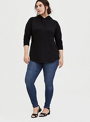 Plus Size Black Fleece Raglan Tunic Hoodie, DEEP BLACK, alternate