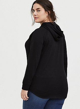 Black Fleece Raglan Tunic Hoodie, DEEP BLACK, alternate
