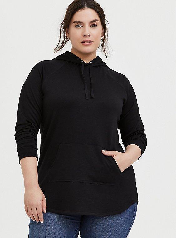 Plus Size Black Fleece Raglan Tunic Hoodie, , hi-res