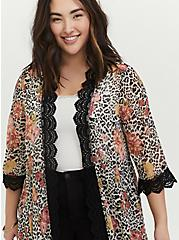 White Floral Leopard Chiffon Kimono, OTHER PRINTS, alternate