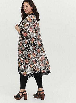 Plus Size Mixed Media Floral Bell Sleeve Duster Kimono, OTHER PRINTS, alternate