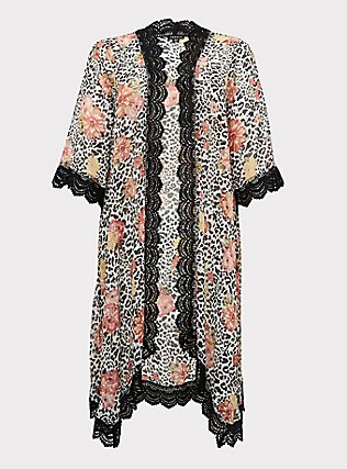 Plus Size Mixed Media Floral Bell Sleeve Duster Kimono, OTHER PRINTS, flat