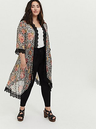 Plus Size Mixed Media Floral Bell Sleeve Duster Kimono, OTHER PRINTS, hi-res