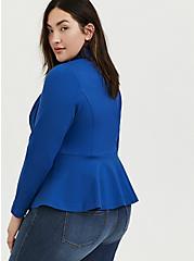 Plus Size Studio Uptown Premium Ponte Electric Blue Stretch Peplum Blazer, BLUE, alternate