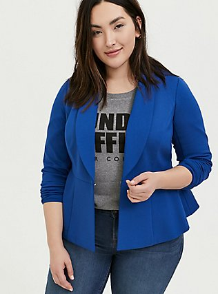 Studio Uptown Premium Ponte Electric Blue Stretch Peplum Blazer, BLUE, alternate