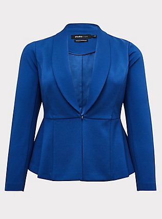 Studio Uptown Premium Ponte Electric Blue Stretch Peplum Blazer, BLUE, flat