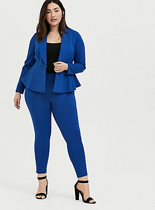 Studio Uptown Premium Ponte Electric Blue Stretch Peplum Blazer, BLUE, hi-res