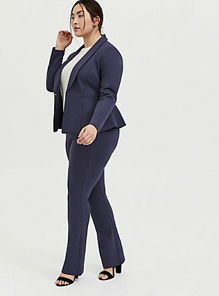 Studio Uptown Premium Ponte Slate Grey Stretch Peplum Blazer, OCEAN BLUE, alternate