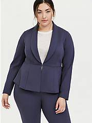 Plus Size Studio Uptown Premium Ponte Slate Grey Stretch Peplum Blazer, OCEAN BLUE, alternate
