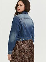 Crop Denim Jacket - Medium Wash, MEDIUM WASHED DENIM, alternate