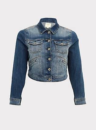 Crop Denim Jacket - Medium Wash, MEDIUM WASHED DENIM, flat