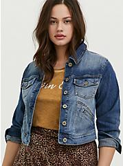 Crop Denim Jacket - Medium Wash, MEDIUM WASHED DENIM, hi-res
