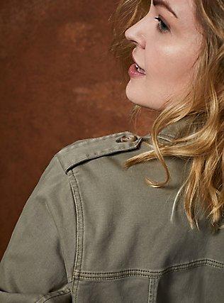 Plus Size Light Olive Green Twill Peplum Utility Jacket , VETIVER, alternate