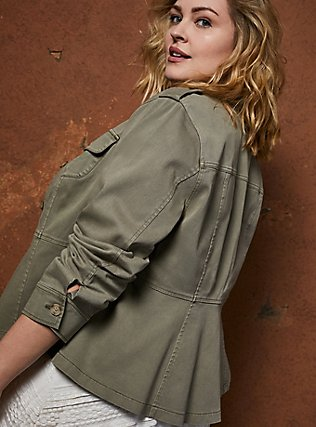 Light Olive Green Twill Peplum Utility Jacket , VETIVER, alternate