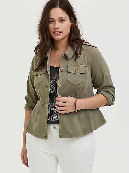 Light Olive Green Twill Peplum Utility Jacket , VETIVER, alternate