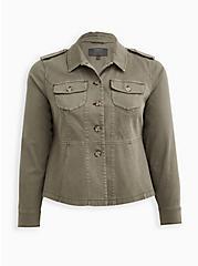 Light Olive Green Twill Peplum Utility Jacket , VETIVER, hi-res