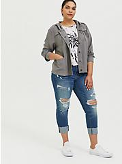 Plus Size Grey Twill Hooded Crop Jacket, SMOKED PEARL, alternate