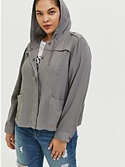 Grey Twill Hooded Crop Jacket, SMOKED PEARL, alternate