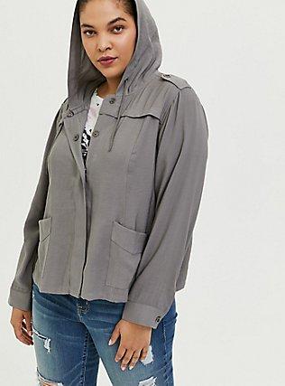 Grey Twill Hooded Crop Jacket, SMOKED PEARL, alternate
