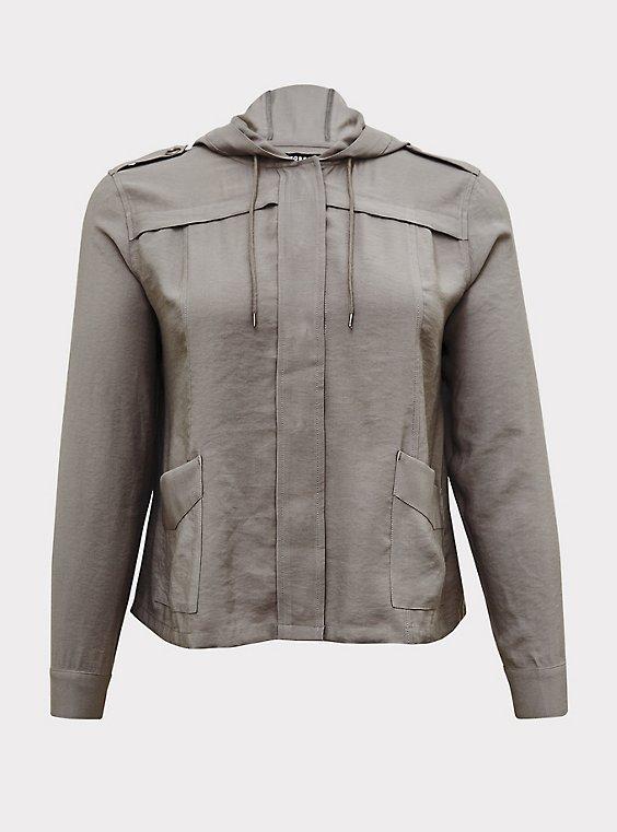 Grey Twill Hooded Crop Jacket, , flat