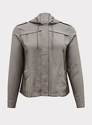 Grey Twill Hooded Crop Jacket, SMOKED PEARL, flat