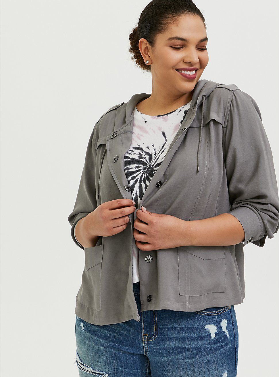 Plus Size Grey Twill Hooded Crop Jacket, SMOKED PEARL, hi-res