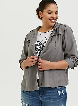 Grey Twill Hooded Crop Jacket, SMOKED PEARL, hi-res