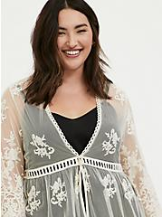 Ivory Mesh Embroidered Duster Kimono, BIRCH, alternate