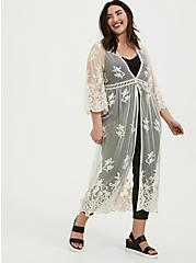 Plus Size Ivory Mesh Embroidered Duster Kimono, BIRCH, alternate