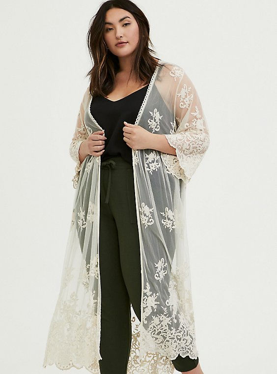 Plus Size Ivory Mesh Embroidered Duster Kimono, , hi-res