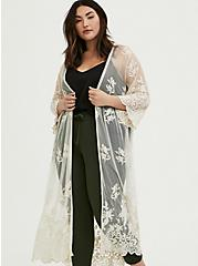 Plus Size Ivory Mesh Embroidered Duster Kimono, BIRCH, hi-res