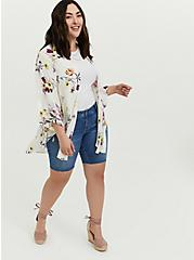 Plus Size White Floral Crepe Shirttail Kimono, FLORAL, alternate