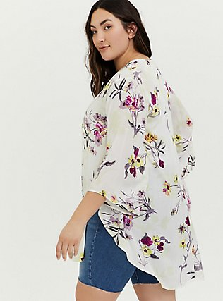 White Floral Crepe Shirttail Kimono, FLORAL, alternate