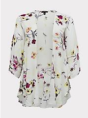 White Floral Crepe Shirttail Kimono, FLORAL, hi-res