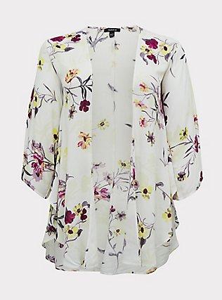 White Floral Crepe Shirttail Kimono, FLORAL, flat