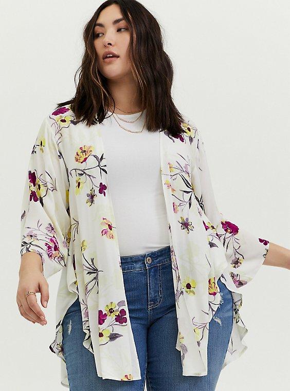 White Floral Crepe Shirttail Kimono, , hi-res