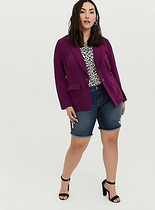 Plum Purple Longline Blazer, DARK PURPLE, alternate
