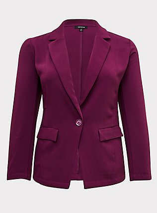 Plum Purple Longline Blazer, DARK PURPLE, flat