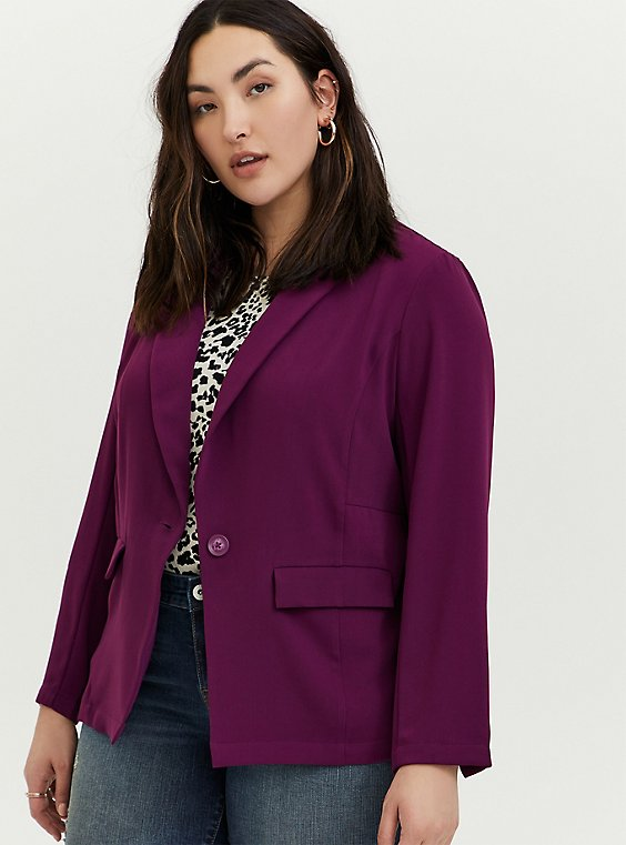Plus Size Plum Purple Longline Blazer, , hi-res