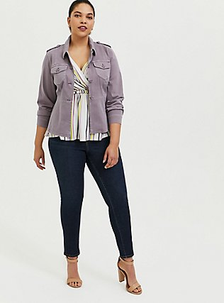 Slate Grey Twill Peplum Utility Jacket, GRAY RIDGE, alternate