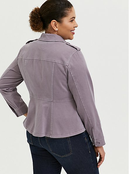 Plus Size Slate Grey Twill Peplum Utility Jacket, GRAY RIDGE, alternate