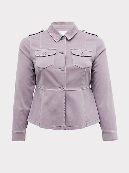 Plus Size Slate Grey Twill Peplum Utility Jacket, GRAY RIDGE, hi-res