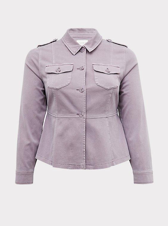 Slate Grey Twill Peplum Utility Jacket, , flat
